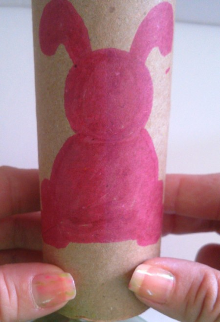 Toilet Paper Tube Easter Bunnies - bunny filled in with pink marker