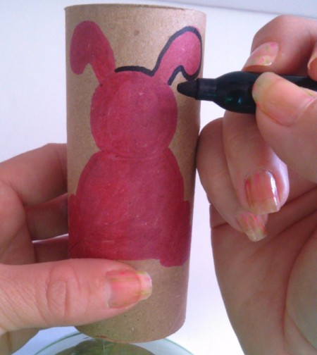 Toilet Paper Tube Easter Bunnies - outline bunny shape with black