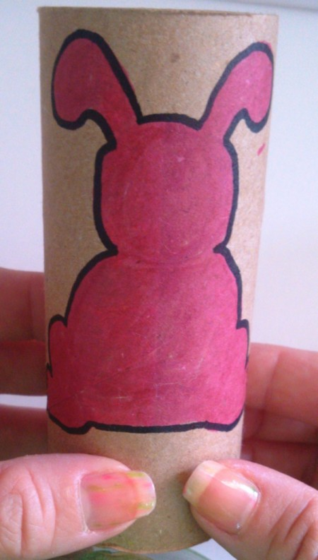 Toilet Paper Tube Easter Bunnies - outlined bunny