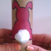 Toilet Paper Tube Easter Bunnies - cotton ball tail glued in place