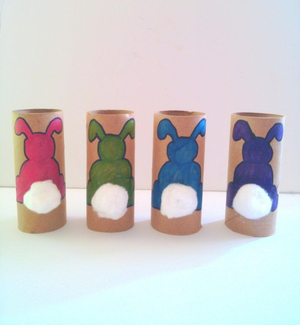 Toilet Paper Tube Easter Bunnies - four different color bunnies