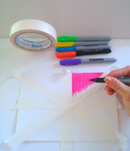 Birthday Card Envelope with Masking Tape Bow - begin coloring