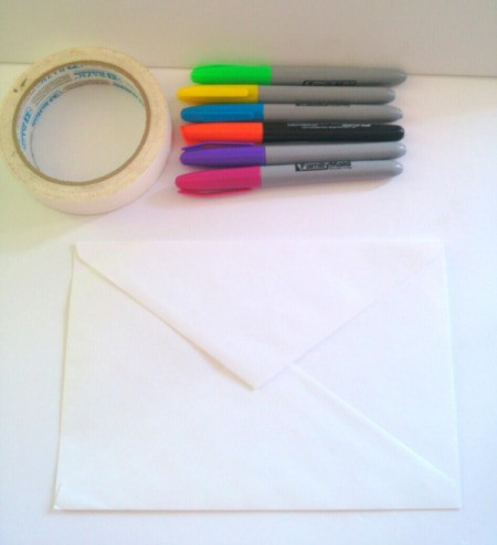 Birthday Card Envelope with Masking Tape Bow - supplies