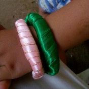 Toothbrush Bracelet - pink and green ribbon wrapped bracelets