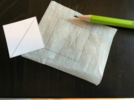 Fabric Chicken Doorstop - trace beak template onto fusible webbing paper
