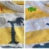 White Vinegar for Removing Sticker Residue from Clothing - before and after photo