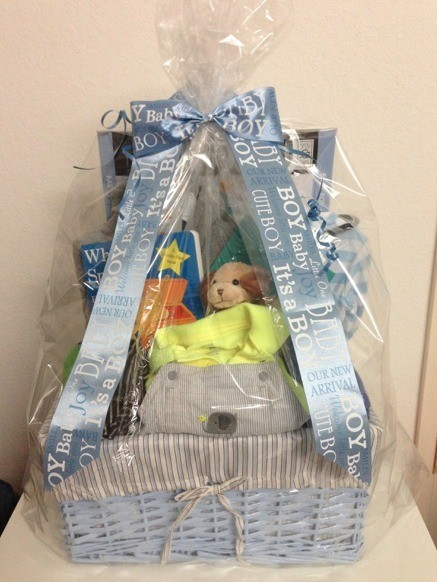 DIY Newborn Baby Gift Basket - finished basket for a boy