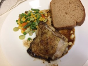 Balsamic Chicken on plate with bread and veggies