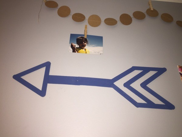 Popsicle Stick Wall Arrow - blue arrow on wall