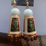 A pair of handcrafted earrings.