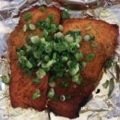 Toaster Oven Baked Salmon covered with green onions