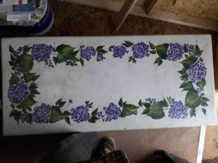 Value of Vintage Mersman Coffee Table - white table with painted flowers and leaves
