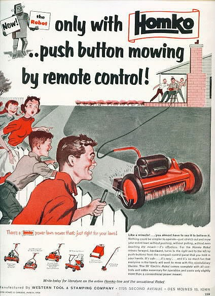 Value of a 1954 Homko Remote Controlled Reel Mower - ad photo