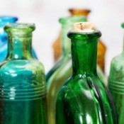 Several old glass bottles.