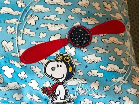 Book Pocket Pillow - Snoopy as Flying Ace patch placed and pressed on