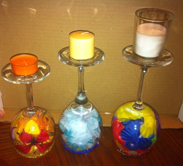 Wine Glass Candle Holders - wine glass candle holders completed