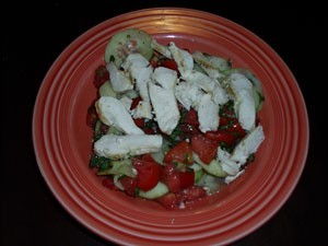 Basil Tomato Salad with Grilled Chicken - plated salad