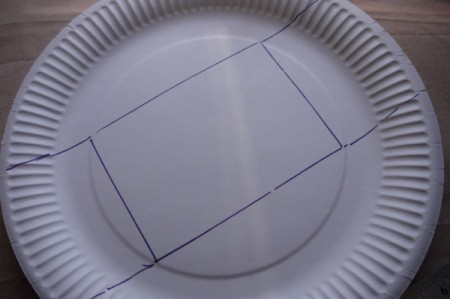 Paper Plate Cookie Gift Basket - extend the two long sides to the edge of the plate