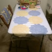 Table Cover Using Store Bought Doilies - doily table runner