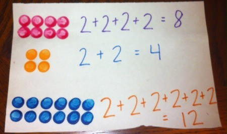 Painted Lego Math - adding