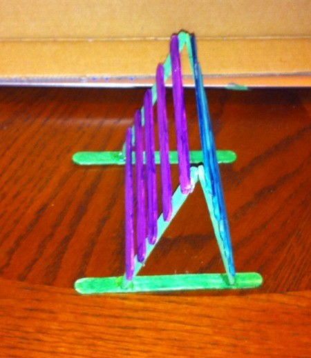 Craft Stick Earring Holder - glue tips of base to two parallel sticks