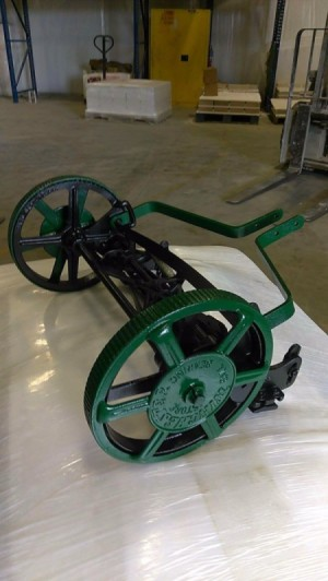 Age of an Old Reel Mower - reel mower on tarp after painting