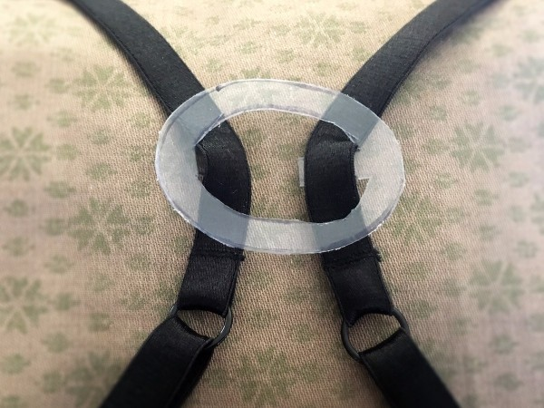 DIY Bra Strap Hider - in place on black bra straps