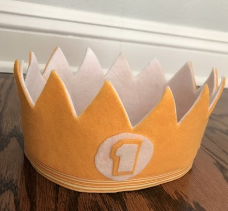 Felt Birthday Crown - yellow and white first birthday felt crown