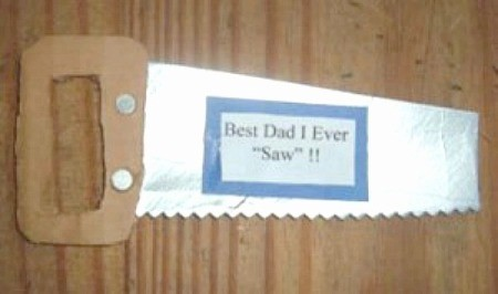 Best Dad I Ever 'Saw' magnet in the shape of a hand saw.