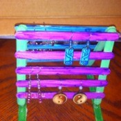 Craft Stick Earring Holder - finished earring holder