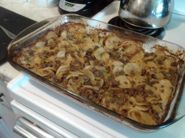 Ground Beef Scalloped Potatoes baked
