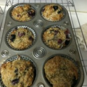 baked Blueberry Muffins in muffin tin