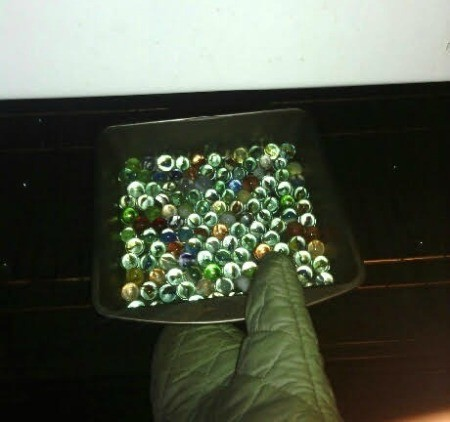 How to Make Crystallized Marbles - use an oven mitt and remove pan from the oven