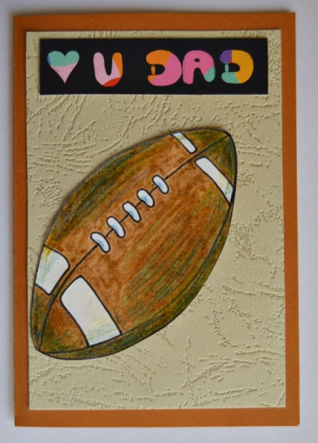 Love U Dad Card - glue football to front of card