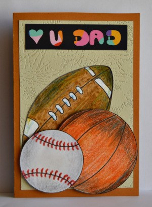 Love U Dad Card - use 3D foam squares and glue to add baseball