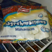 A bag of marshmallows stored in the freezer to be used as an ice pack.