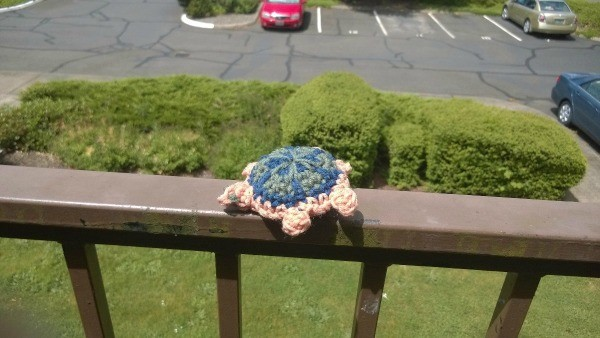Crocheted Turtle - turtle on balcony railing