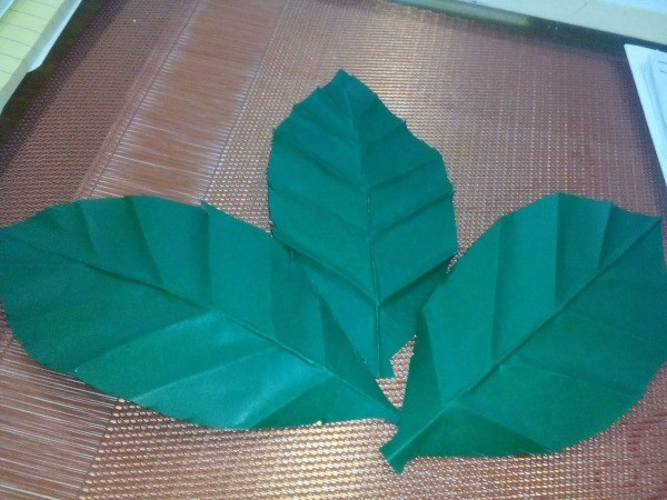 Folded Paper Leaf - three finished leaves