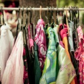 Clothes hanging at Yard Sale