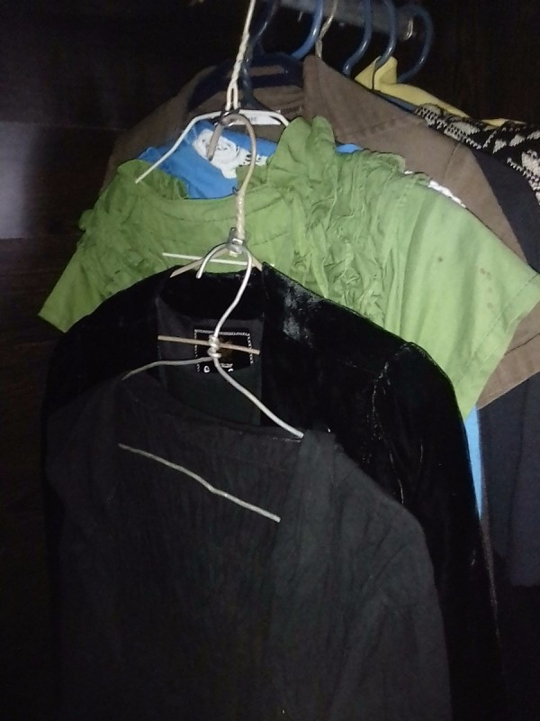 Reusing Can Pull Tabs for Expanding Hangers - two dresses hanging the space of one hanger on closet rod
