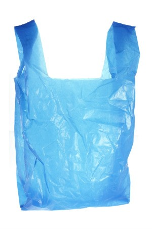 Blue plastic grocery bag.