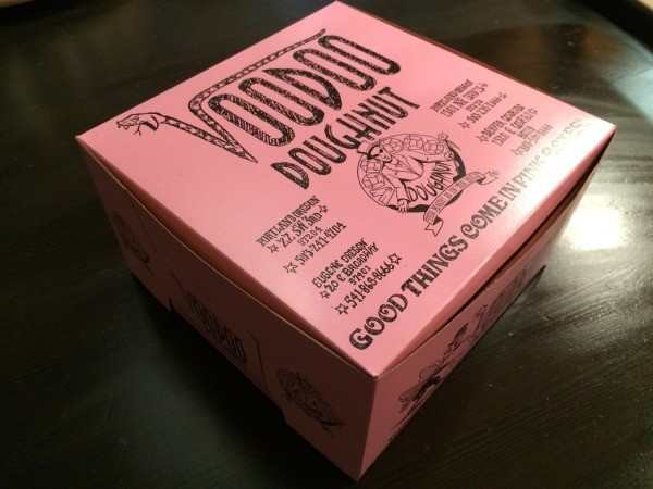 Visting Voodoo Doughnuts (Portland, OR) - closeup of box