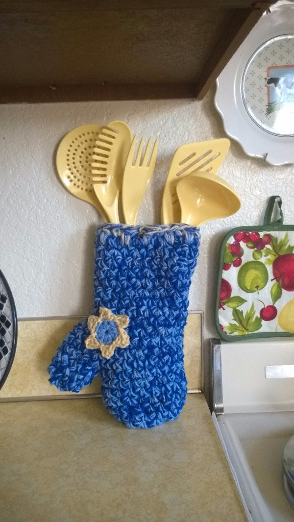 Crocheted Decorative Oven Mitt - mitt filled with cooking tools as a gift