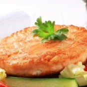 Tasty pan fried salmon patty.