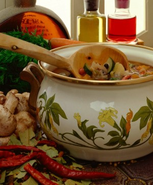 A pot of vegetable soup.