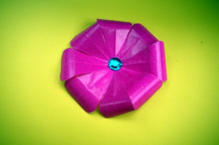 Paper Flower Decorations - add a sticky jewel to center