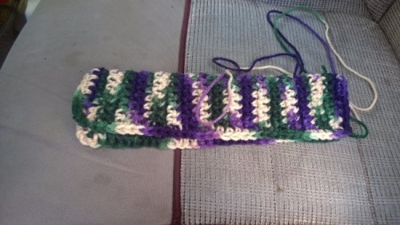 Crocheted Seat Belt Adjuster - single crochet in the stitches around the edges join at the top and leave a tail