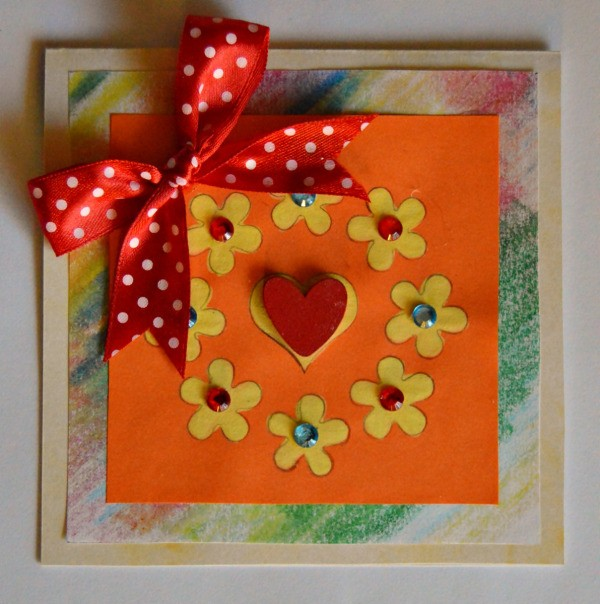 Colorful Summer Bleached Greeting Card - finished card with ribbon bow added to upper left of card