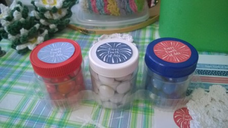 Recycled Decorative Candy Jars - free 4th of July images on lids