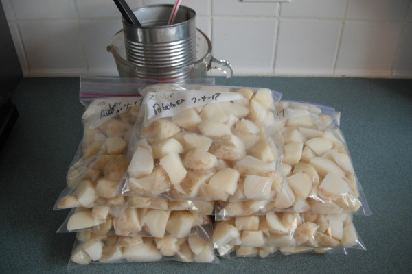 Several bags of cut and washed potatoes, ready for freezing.